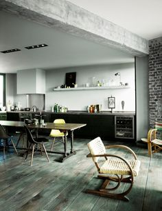vintage loft black and white kitchen