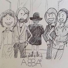 Music Cover parody pt 10 ABBA - Waterloo 1974 Sketching idea for acrylic Paint  #abba #Frida #sweden #svezia #eurovision #agnetha #waterloo #mammamia #dancingqueen #supertrouper #inktober #inktober2016 #Doodle