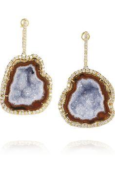 Kimberly McDonald|18-karat gold, geode and diamond earrings