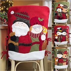 kinda want these for my kitchen chairs Christmas Sewing, Christmas Home, Vintage Christmas, Christmas Table Settings, Christmas Table Decorations, Christmas Chair Covers, Xmas Theme, Holiday Crafts, Holiday Decor