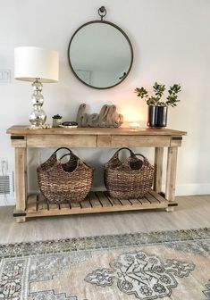 Fall entryway decor easy + simple touches to welcome fall into your home - diy-home-decor Fall Entryway Decor, Entryway Tables, Hall Way Decor, Console Table Decor, Entrance Table Decor, Rustic Console Tables, Entryway Mirror, Entryway Storage, Entryway Furniture