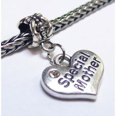 Dangle Heart Charm | Heart Charm w/ Crystal | Special Mother | Fits Most Charm Bracelets