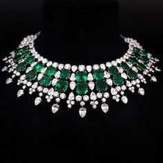 Harry Winston Columbian emerald and diamond necklace.