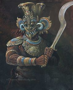Ancient Sri Lankan warrior wearing a Devil's Mask Fantasy Warrior, Fantasy Art, High Fantasy, Aztecas Art, Warrior Paint, Medieval, Tribal Warrior, Fantasy Creatures, Dungeons And Dragons