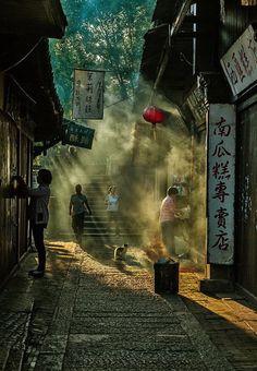 Temprano en la mañana de una ciudad tradicional china