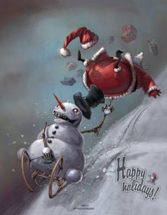 Jolly Old Santa Claus Illustrations - We all have a general concept of Santa Claus. He is a fat, jolly old man who travels the world on Chri. Dark Christmas, Merry Little Christmas, Halloween Christmas, Christmas Art, Christmas Paintings, Halloween Skull, Christmas Humor, Winter Illustration, Character Illustration