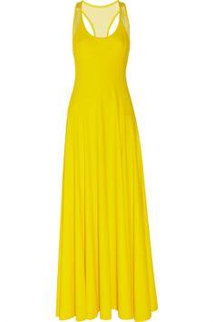 DKNY | Stretch-jersey and stretch-mesh maxi dress | NET-A-PORTER.COM #3OtherThings #Fashion #Dress