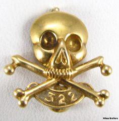 SKULL & BONES Yale Secret Society PIN - 18k Yellow Gold 322 c. 1890s Badge