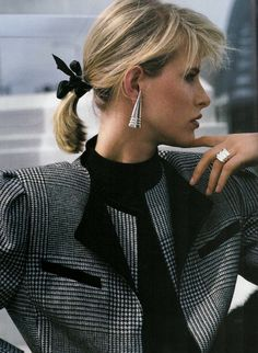 "80s-90s-supermodels:  ""Looks That Mean Business"", Vogue Australia, May 1987Photographer : Richard BaileyModel : Sonia Klein"