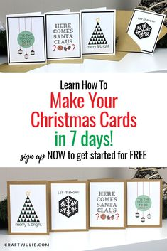 7 Days to Make Your Christmas Cards Dyi Christmas Cards, Christmas Craft Projects, Handmade Christmas Gifts, Diy Craft Projects, Christmas Ideas, Diy Crafts, Free Email, Beautiful Handmade Cards, Winter Cards