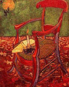 Vincent Van Gogh (Gauguin's Armchair) oil on canvas. Painted while living in Arles with Gaugin. Vincent van Gogh was exhibited at kestnergesellschaft on www. Art Van, Van Gogh Art, Claude Monet, Vincent Van Gogh, Rembrandt, Van Gogh Pinturas, Van Gogh Paintings, Post Impressionism, Paul Gauguin