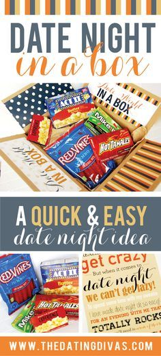 What a great idea! Everything you need for a date night with your spouse all in one box. www.TheDatingDivas.com