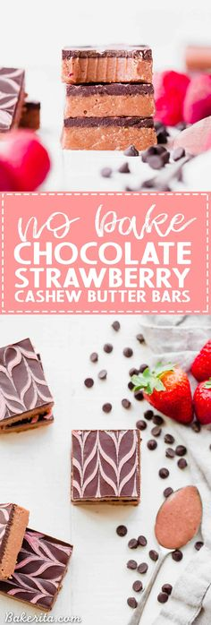These No Bake Chocolate Strawberry Cashew Butter Bars have a& strawberry cashew butter base, topped with dark chocolate and a strawberry drizzle. You only need seven ingredients to make these irresistible gluten-free, paleo and vegan cashew butter bars. Gluten Free Cookies, Gluten Free Desserts, No Bake Desserts, Vegan Desserts, Delicious Desserts, Vegan Recipes, Chocolate Strawberries, Chocolate Cupcakes, Chocolate Desserts