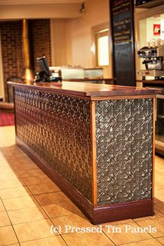 """The Kelso Hotel in Bathurst have used the """"Original"""" Pressed Tin Panel on their counter front - they have had it powder coated in Sable Asteroid"""