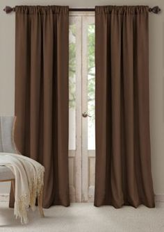 Elrene Men's Cachet 52-In. X 84-In. - 3 In 1 Window Panels - Chocolate - Brown - 52 X 84