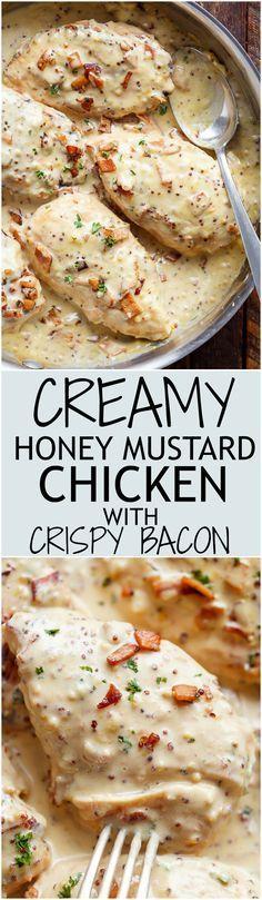 Creamy Honey Mustard Chicken With Crispy Bacon