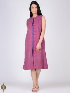 Buy Pink Purple Handloom Cotton Jacket with Dress by Jaypore (Set of 2) Women Jackets Online at Jaypore.com