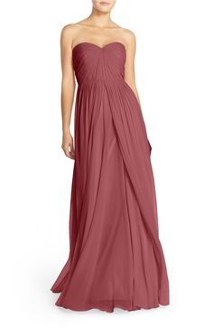$285 Nordstrom - Jenny Yoo Mira Convertible Strapless Pleat Chiffon Gown (Cinnamon Rose)