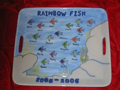 Rainbow Fish Platter by The Pottery Stop Gallery!, via Flickr