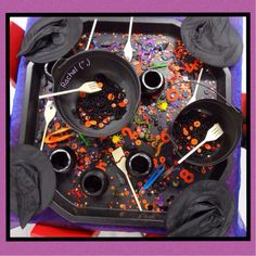 - Stimulating Learning Provocation to create spells from Rachel ( Halloween Theme Preschool, Theme Halloween, Halloween Activities, Autumn Activities, Halloween Crafts, Preschool Ideas, Kid Crafts, Halloween Ideas, Eyfs Activities