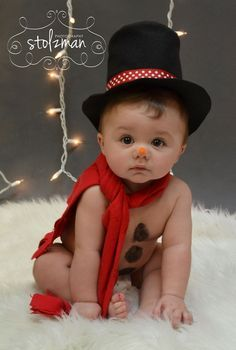 Baby Christmas photo idea. He's a little snowman!