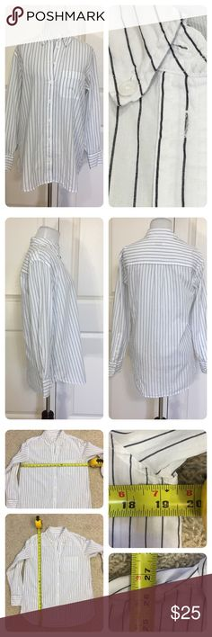 Equipment striped button down blouse Classic striped button down blouse from high end designer Equipment.  Two tiny spots shown on last pic. Price reduced. Equipment Tops Button Down Shirts