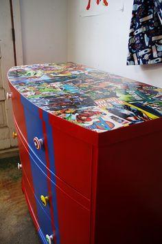 Superhero dresser! Love the decoupage! Great idea!