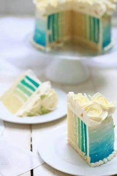 Blue stripe cake