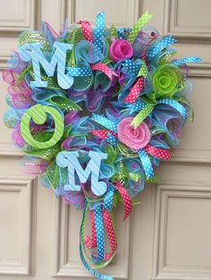 "Mother's Day - ""M O M"" Deco Mesh Door Wreath - Hand-designed - ""One of a kind"" #DesignedbyJanfromBerdiesBloomers"