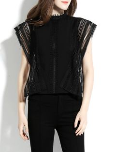 Shop Blouses - Black Casual Solid Pierced Stand Collar Blouse online. Discover unique designers fashion at StyleWe.com.