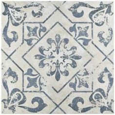 Lotto Cobalto in. Ceramic Floor and Wall Tile sq. / case) The Merola Tile Lotto Cobalto in. Ceramic Floor and Wall Tile features a rustic blue and white pattern on its surface that Geometric Patterns, Floor Patterns, Tile Patterns, Kitchen Wall Tiles, Bathroom Floor Tiles, Kitchen Flooring, Slate Flooring, Terrazzo Flooring, Basement Flooring
