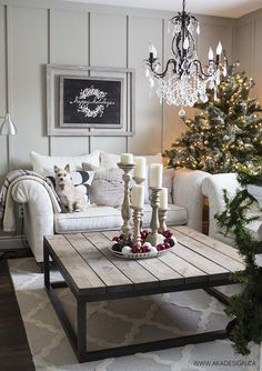 Wonderful French Country Living Room Decoration Ideas - Bardolph News Christmas Living Rooms, Christmas Home, Modern Christmas, Minimalist Christmas, Christmas Coffee, Vintage Christmas, Homemade Christmas, French Country Christmas, Christmas Gifts