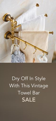 Dry Off In Style With This Vintage Towel Bar Tiny Bathrooms, Laundry In Bathroom, Downstairs Bathroom, Bathroom Storage, Small Bathroom, Master Bathroom, Bathroom Ideas, Dream Bath, Vintage Walls