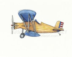 Vintage Airplane 8x10 Watercolor Print Navy от AnnieLaurieArt