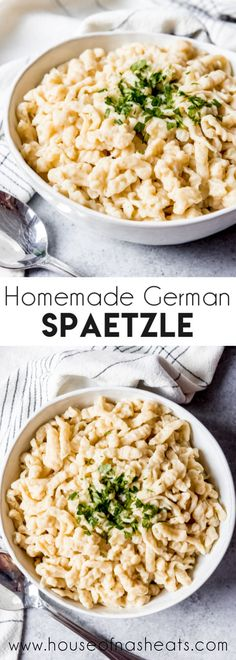 Homemade German Spaetzle Homemade German Spaetzle are part noodle, part dumpling, and they go with practically anything! Saute them in butter, add cheese, or cover them in sauce! This is one of my favorite traditional German recipes! German Recipes Dinner, Easy German Recipes, Dinner Recipes, Dinner Ideas, Dessert Recipes, Beef Bourguignon, Oktoberfest Party, Pasta Recipes, Cooking Recipes