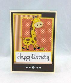 Handmade  Giraffe Birthday Card by CraftyGalCards on Etsy