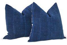 African Indigo Mud Cloth Pillows, https://www.onekingslane.com/shop/debra-hall-lifestyle Pair on OneKingsLane.com