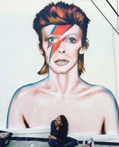 David Bowie Tribute by Famous Venice StreetArtist Jules Muck outside of Time Warp Music on Venice Blvd. & Ocean View Ave. in The WestSide Los Angeles Neighborhood of Mar Vista (Between Culver City & Venice Beach - Near Santa Monica Airport), California.