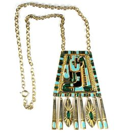 Egyptian Motif Enameled Pendant Necklace available from Anna's Vintage Jewelry on Ruby Lane