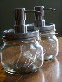 Mason Jar soap dispenser with metal pump. New Pint Ball Elite Jars a modern twist to country decor. $18.00, via Etsy.