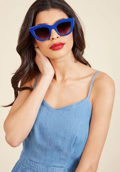 Worth Its Weight in Bold Sunglasses in Cobalt | ModCloth