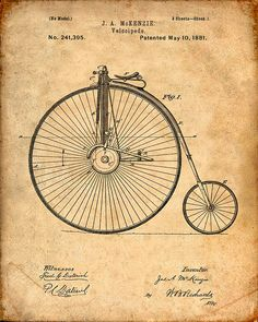 Patent Print of a Velocipede From 1881 Patent Art by VisualDesign