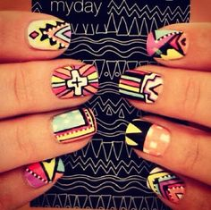 Nail art. #nails #nailpolish #polish #nailart #tribal #beauty