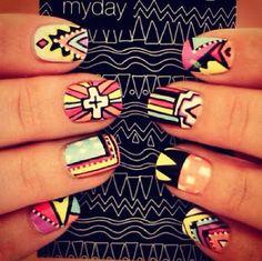 Nail art. #nails #nailpolish #polish #nailart #tribal #beauty