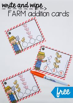Fun write and wipe addition cards for a farm unit. Perfect for kindergarten or first grade!