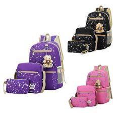 Women Casual Canvas Travel Bags Girl Teens For School Backpack Shoulder Rucksack