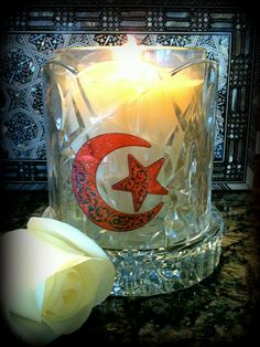 I love how easily I can decorate a votive candle with Eidway's window clings. I can't wait to make table center pieces for Iftar this Ramadan.