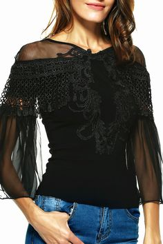 $14.70 Graceful Women's Bell Sleeves Embroidered Mesh Spliced Blouse
