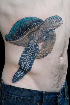 Amazing detailed turtle tattoo on ribs by Deano Cook