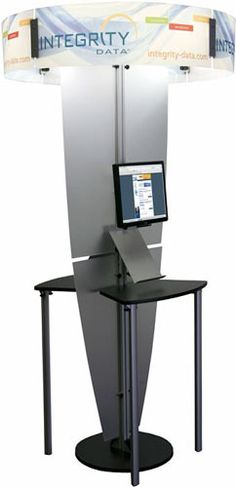 If you want to get noticed without taking up a lot of space, consider a vertical display. (Pictured: Integrity Data Exhibit Line Kiosk w/ Backlit Halo)